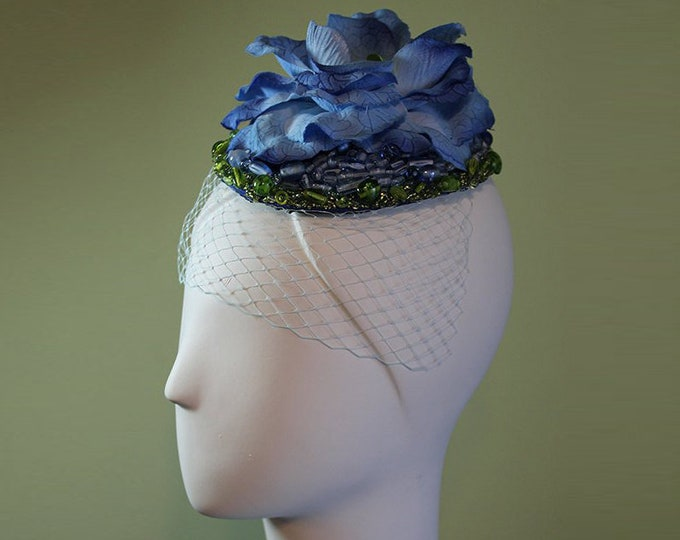 Women's Beaded Fascinator - Hand-Beaded Blue Flower - Bridal - Bridesmaid - Blue Green Beaded Flower Bridal Fascinator