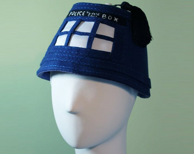 Doctor Who Fez - Tardis Fez - Doctor Who Accessory - Unisex Blue Tardis Fez Hat - Doctor Who - OOAK