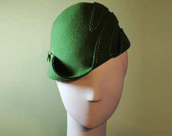 Green Cloche Hat - Women's Wool Swirl Hat - Moss Green Sculpted - Vintage Inspired - 1930s 1940s Style Cloche Hat - OOAK