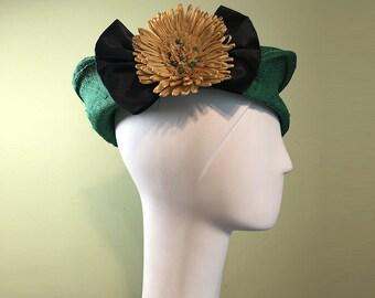 Green Straw Cloche - Green Straw Hat with Vintage Yellow Raffia Flower - Spring Summer Straw Women's Hat - Women's Derby Ascot Hat - OOAK