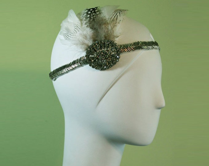20s Flapper Headband - Great Gatsby Headband - 1920s Style White / Silver Beaded - Vintage Inspired Bridal - Free Shipping - OOAK
