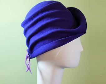 Purple Cloche Hat - Women's Violet Wool Cloche Hat - Women's Purple Sculpted Cloche - 1920s Style Purple Cloche - OOAK