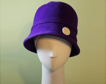 Purple Cloche Hat - Women's Cloche Hat - 1920s Hat - Purple Cloche Felt Hat - Deep Cloche Hat - OOAK