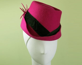 Hot Pink Fedora - Women's Hot Pink Wool Fedora Hat - Unique Bright Pink Women's Fedora - 1940s Women's Pink Fedora - OOAK