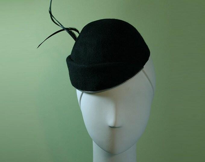 Black Beanie Hat - Black Wool Cuffed Women's Beanie Hat with Zipper Trim - Black Wool Women's Beanie Hat - OOAK