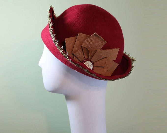 Bright Red Cloche Hat - Red Wool 3-Point - 1930s Hat - 1920s Hat - Vintage Inspired Cloche - Gold Ribbon - Vintage Button Hat