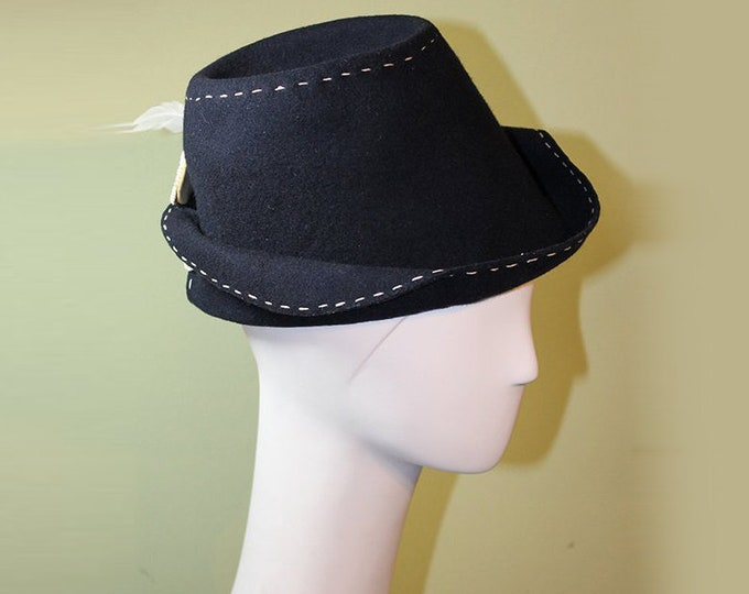 Navy Women's Fedora Hat - Women's Navy Blue Wool - Unique Navy Blue Women's Fedora - 1940s Women's Navy Fedora - OOAK