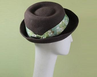 Women's Porkpie Hat - Vintage Inspired Fall Winter Wool Hat - Porkpie Hat - Women's Porkpie - OOAK
