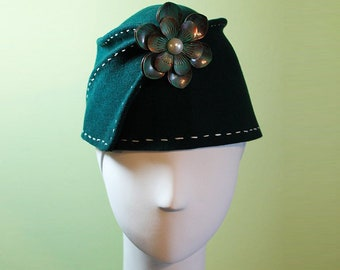 Wool Bucket Hat - Dark Green Wool Women's Sculpted Fez / Cloche Hat - Green Fez - Green Wool Bucket Hat - OOAK