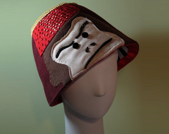 Monkey Fez Hat - Unisex Wool Monkey Fez Hat - Novelty Fez Hat - Handmade Fez Hat - Bucket Hat - Free Shipping - OOAK