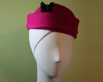 Hot Pink Cloche - Women's Bright Pink Wool Sculptured Hat with Black Feather - Sculpted Cloche - Art Deco Style Women's Wool Hat - OOAK