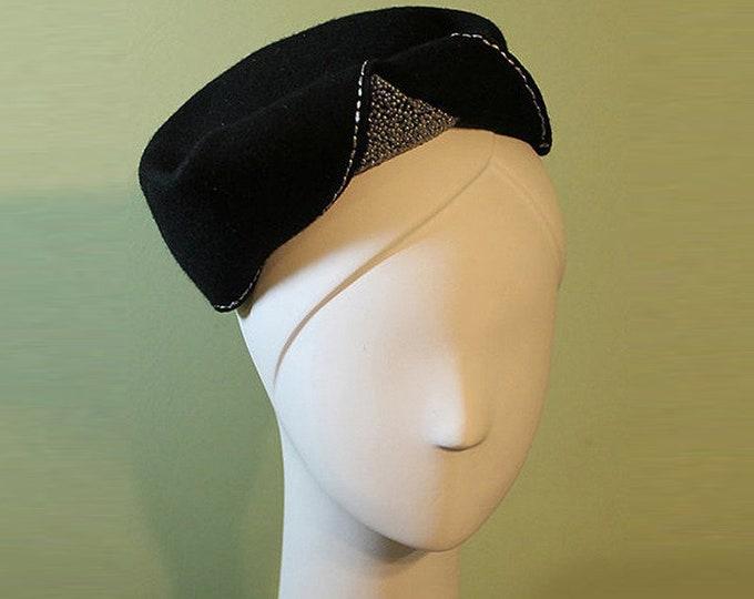 Black Pillbox Hat - Women's Black Wool Hand-beaded Sculptural Hat - 1930s 1940s Style Black Wool Women's Hat - OOAK