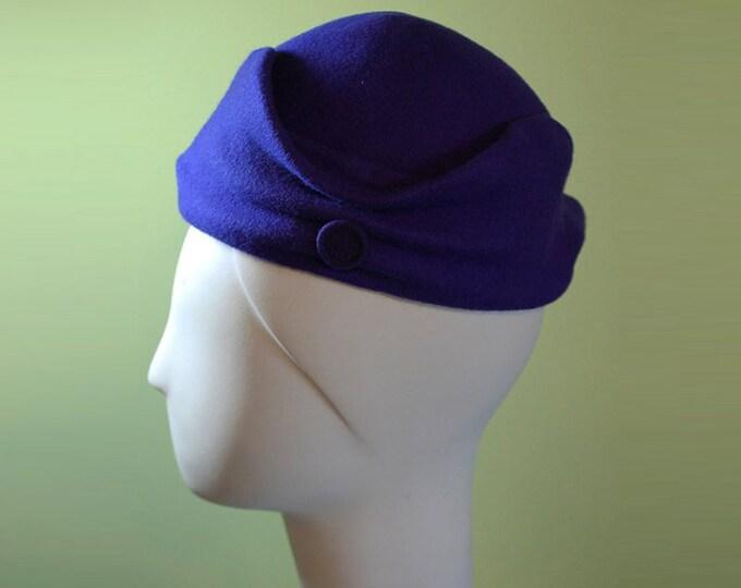 Purple Cloche Hat - Dark Purple - Sculpted Women's Wool Hat OOAK Boho - Small - Vintage Inspired Purple Hat