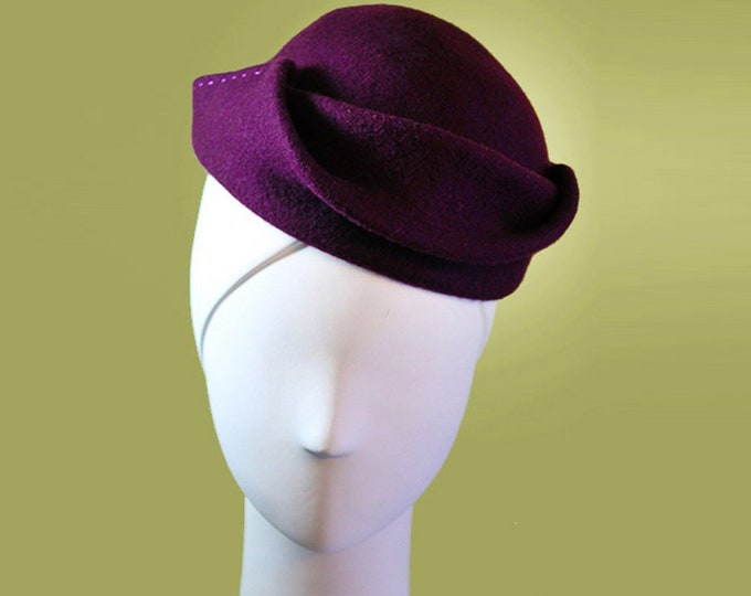 Purple Cloche - Dark Plum Wool Hat - Dark Purple - Sculpted Women's Boho Wool Hat - Vintage Inspired - 1940s Hat - OOAK