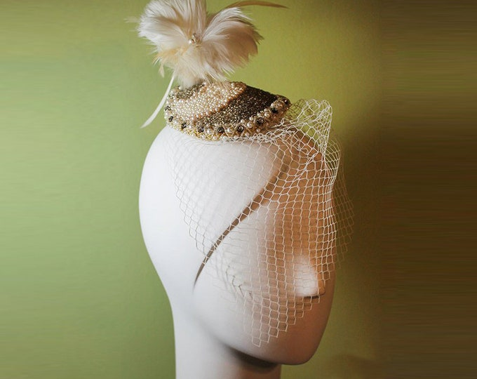 Veiled Bridal Fascinator - Hand Beaded with Feathers & Veil - Beaded Wedding Fascinator - Vintage Style Wedding Fascinator - OOAK