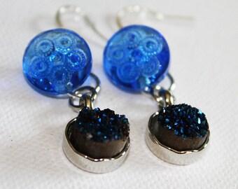 Blue Glass Earrings - Vintage Cobalt Blue Glass Button & Quartz Earrings - Boho Chic - Dangle Dearrings - OOAK