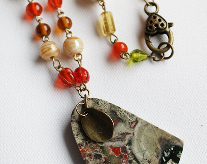 Beaded Necklace - Beaded Long Necklace with Spider Jasper Stone Pendant - Vintage Bronze - OOAK