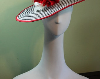 Kentucky Derby Hat - White and Black Striped Women's Derby Hat with Flowers OOAK - Ascot Hat - Flower Hat