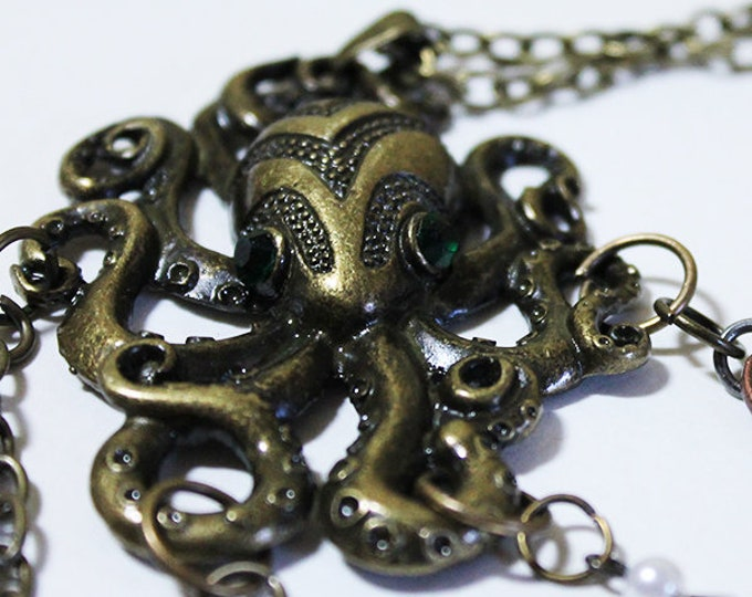 "Octopus Necklace - Unique 24"" Long Vintage Gold Octopus Necklace - OOAK"