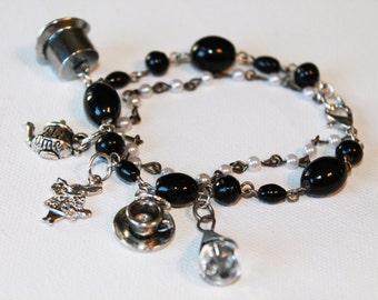 Charm Bracelet - Alice in Wonderland Inspired - Black Beaded Bracelet - Pearl Bracelet - OOAK