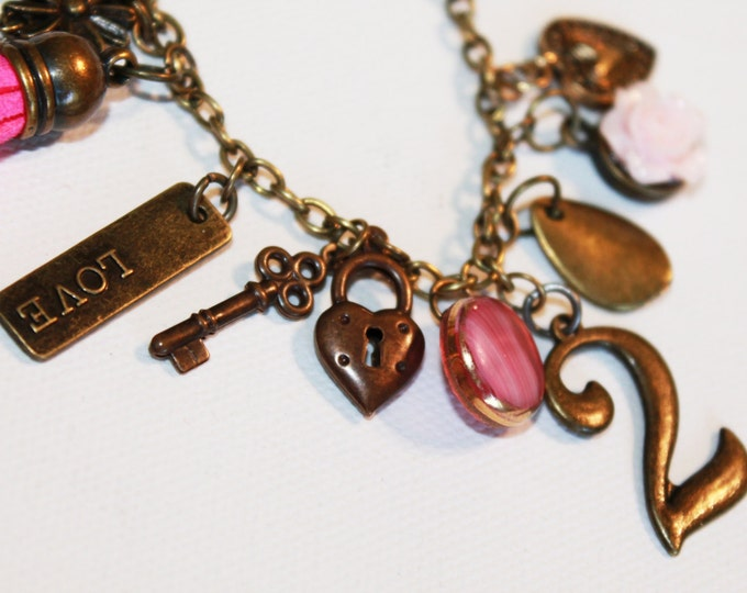 Charm Bracelet  - Pink and Gold - Heart Locket Key 2 Charms - Heart Locket Bracelet - OOAK