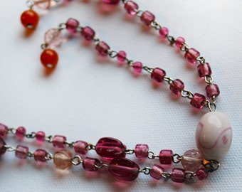 Beaded Necklace - Pink Glass Beaded Long Necklace - Tassel Necklace - Vintage Inspired Necklace - OOAK