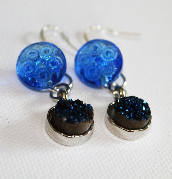 Blue Glass Earrings - Vintage Cobalt Blue Glass Button & Quartz Earrings - Boho Chic - Dangle Dearrings - OOAK