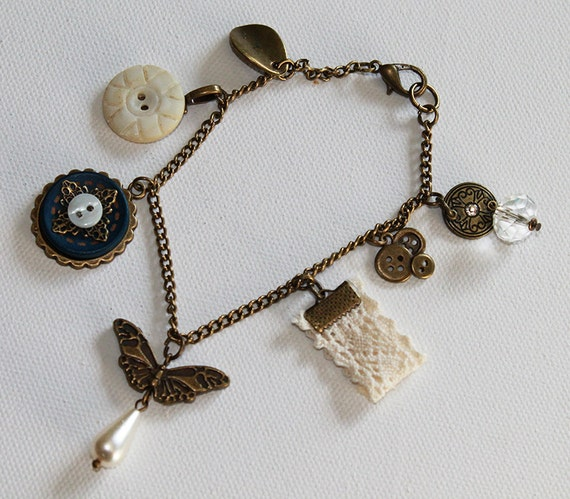 Boho Charm Bracelet - Boho Vintage Style Charm Bracelet - Butterfly Charm - Vintage Button - Vintage Gold - OOAK