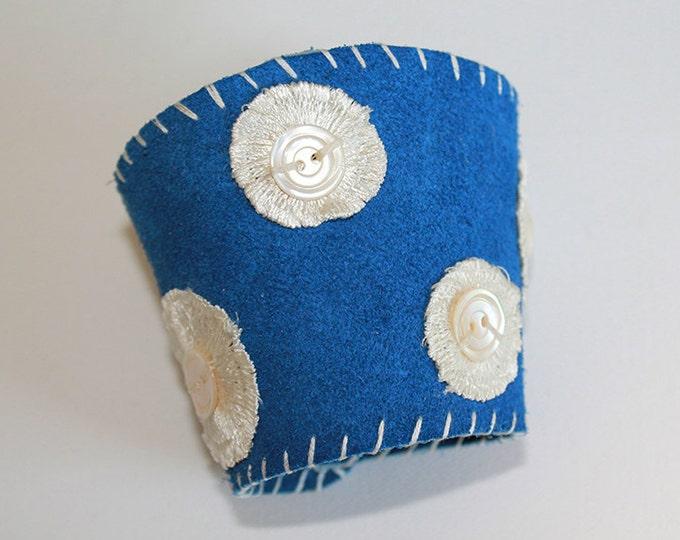 Leather Cuff Bracelet - Blue Suede Polka Dot Leather Cuff Bracelet with Vintage Mother-of-Pearl Buttons - OOAK
