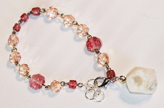 Druzy Bracelet - Pink Beaded Glass with Large Druzy Rock - Silver Chain Bracelet - OOAK
