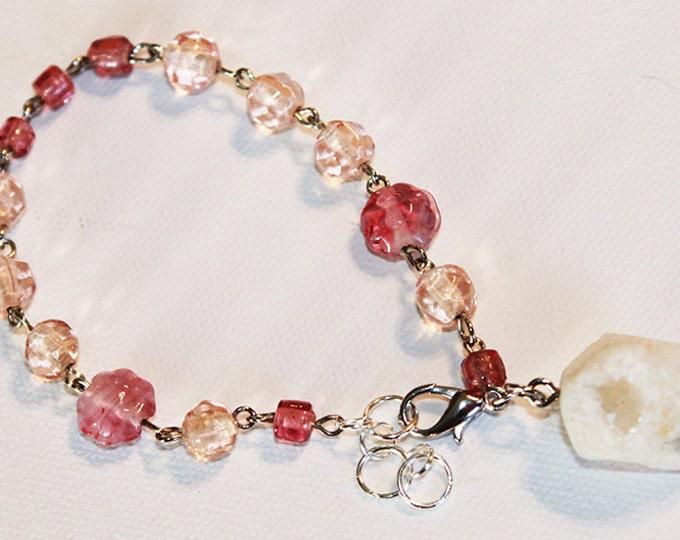 Druzy Bracelet - Pink Beaded Glass with Large Druzy Rock - Silver Chain Bracelet - OOAK