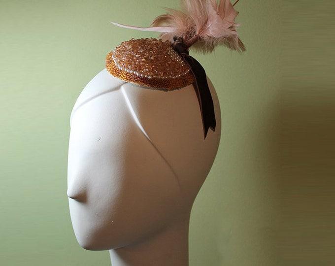 Beaded Fascinator - Women's Hand-Beaded Soft Pink - Bridal - Bridesmaid - Pink Beaded Bridal Fascinator