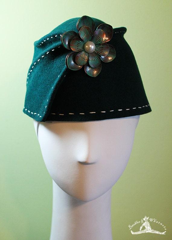 Green Bucket Hat - Dark Green Wool Women's Sculpted Fez / Cloche Hat - Green Fez - Green Wool Bucket Hat - OOAK