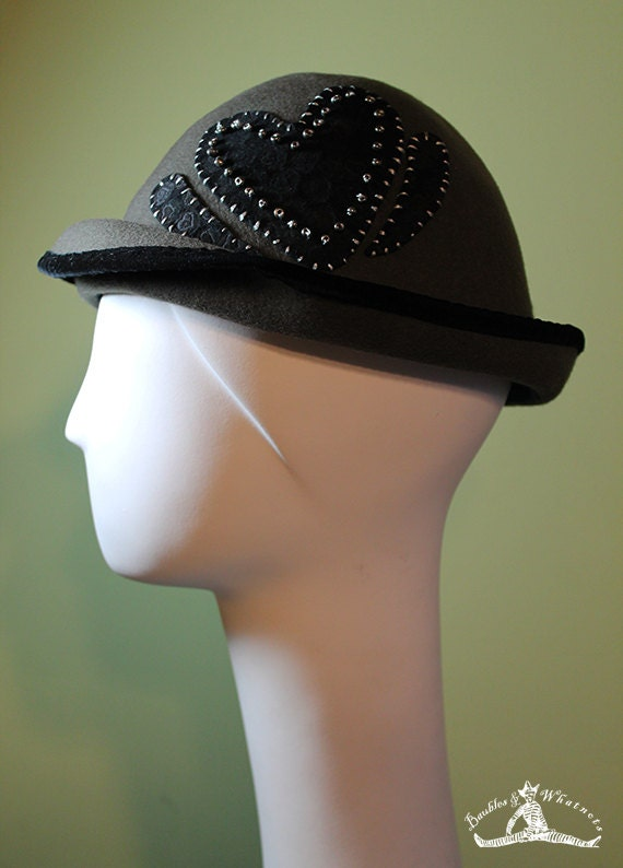 Gray Wool Hat - Women's Hat Black Beaded Heart - Gray Wool Women's Bowler - Valentine's Day Women's Hat - OOAK