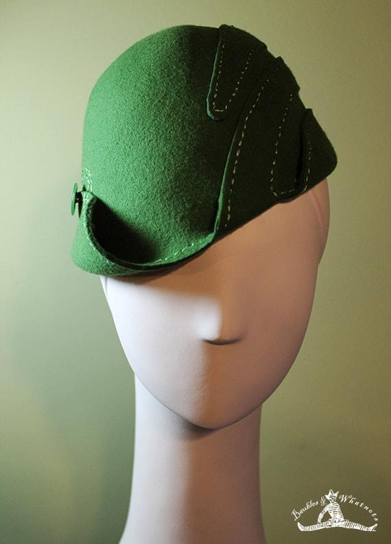 Cloche Hat - Women's Wool Swirl Hat - Moss Green Sculpted - Vintage Inspired - 1930s 1940s Style Cloche Hat - OOAK