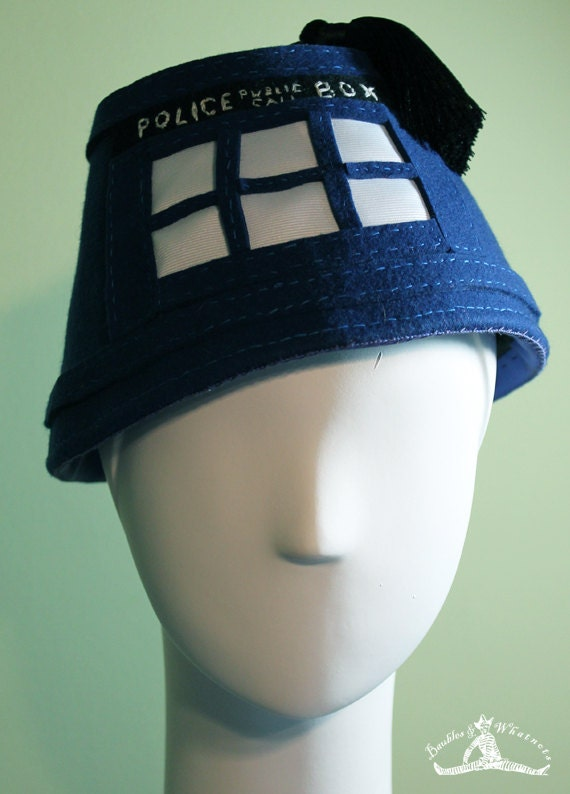 Doctor Who Fez - Tardis Fez - Doctor Who Accessory - Unisex Blue Tardis Fez Hat - Doctor Who - OOAK