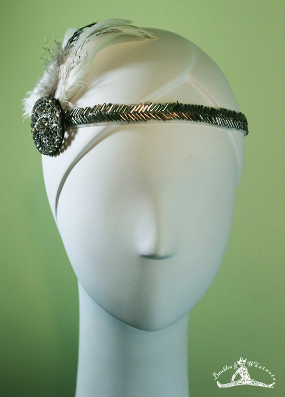 Flapper Headband - Great Gatsby Headband - 20s Headband - 1920s Style White / Silver Beaded - Vintage Inspired - Bridal - Flapper - OOAK