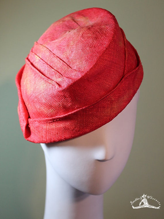 Straw Cloche Hat- Coral Red Women's Hat - Spring Summer Straw Women's Hat - Vintage Inspired Hat - OOAK