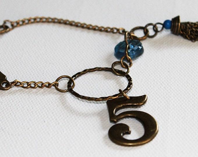 Charm Bracelet - Boho Vintage Style Charm Bracelet - Vintage Blue Glass Button - Chain Tassel - Vintage Gold - OOAK