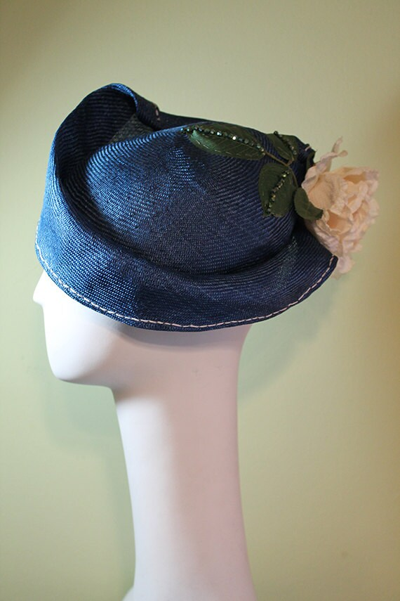 Blue Straw Hat - Blue Women's Straw Cloche Hat with Flower - Spring Summer Straw Women's Hat - Women's Derby Ascot Hat - OOAK