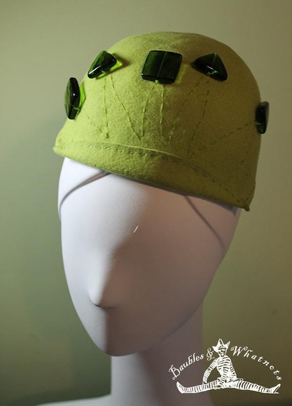 Green Beanie Hat - Chartreuse Green Beaded Wool OOAK - 1920s 1930s Style Hat - Vintage Inspired Hat - Women's Hat - Winter Fall Hat