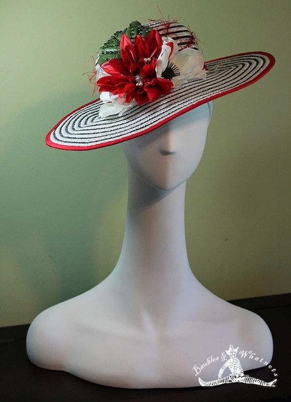 Kentucky Derby Hat - White and Black Striped Women's Derby Hat with Flowers OOAK - Ascot Hat - Flower Hat