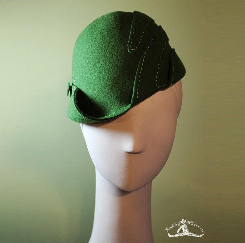 1930s Style Hats   Buy 30s Ladies Hats Green Cloche Hat - Womens Wool Swirl Hat - Moss Green Sculpted - Vintage Inspired - 1930s 1940s Style Cloche Hat - OOAK $155.00 AT vintagedancer.com