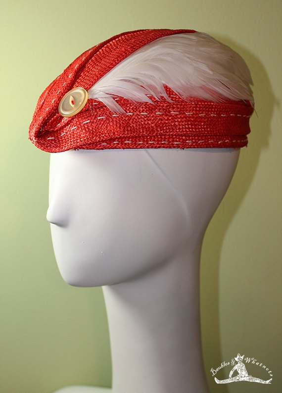 Coral Straw Hat - Red Straw Hat - Oversized Button & Feathers - Spring Summer Red Straw Hat - Red Kentucky Derby Hat - OOAK