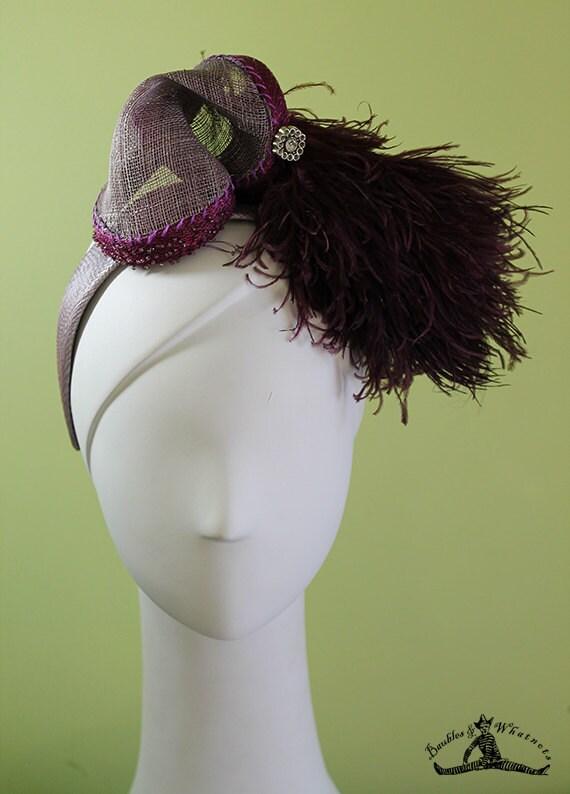 Silver Headband - Silver and Purple Art Deco Headband - 1920s Style Headband - Flapper Headband - Bridal - OOAK