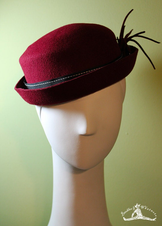 Burgundy Porkpie Hat - Women's Burgundy Fall / Winter Wool Hat - Women's Wool Porkpie Hat - OOAK