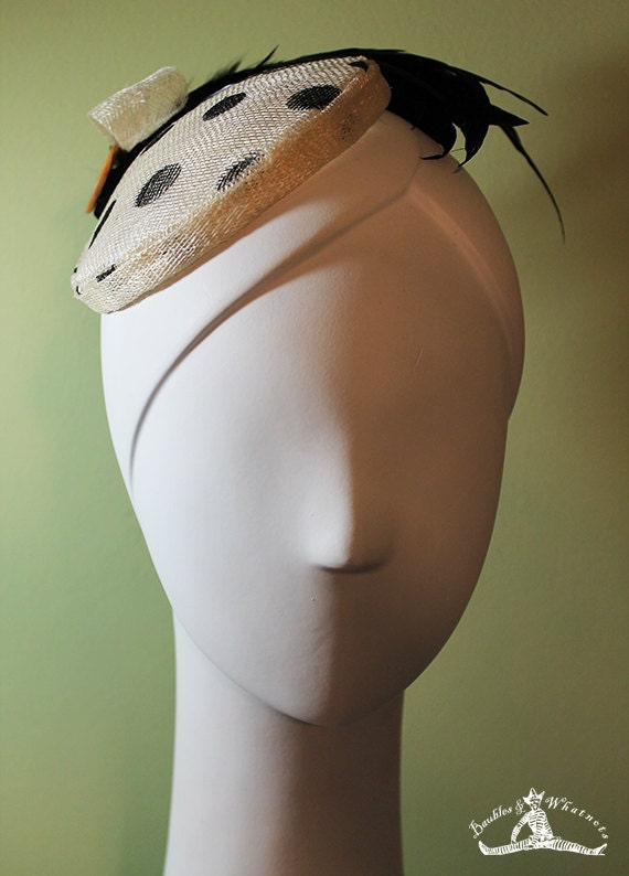 Polka Dot Fascinator - Cream & Black with Feathers - 1950s Style - VLV - 50s Style - Rockabilly Fascinator - OOAK