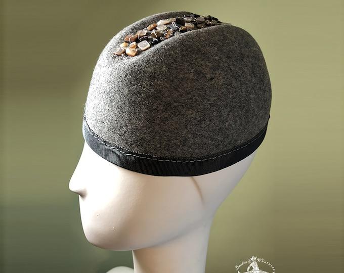 Gray Wool Beanie Hat - Mother of Pearl Stone Buttons - Grey Wool Hat - Gray Women's Hat - Gray Cloche Hat -  OOAK