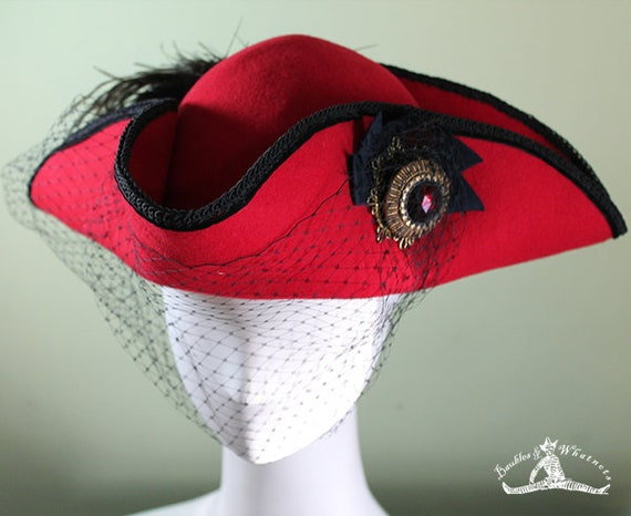Women's Red Tricorn Hat - Women's Pirate Steampunk Buccaneer Hat - Tricorn Wool Hat - Tricorn Hat Feather Veil - OOAK