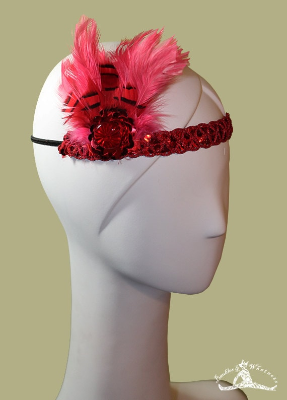 Red Flapper Headband - 1920s Style Red Colored Headband - Flapper Headband - NYE - New Year's Eve - Burlesque Headband - OOAK